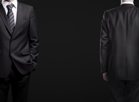 tuxedo man: l'uomo in tuta, anteriore e posteriore Archivio Fotografico