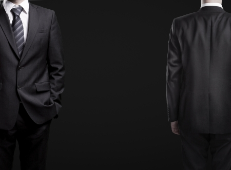 tuxedo man: man in suit, front and rear