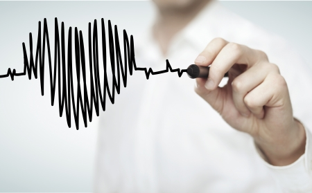 business man drawing chart heartbeat Stock Photo - 15904501