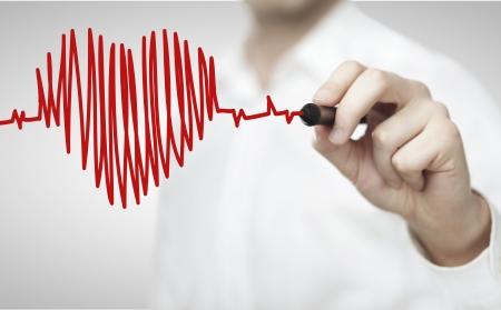 Hombre de alta resolución dibujo gráfico latido del corazón Foto de archivo