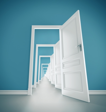 opening door: hallway open door in blue room