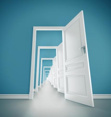 abriendo puerta: pasillo abierto la puerta en la habitación azul
