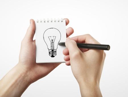lapiz y papel: l�mpara de mano dibujo, concepto idea