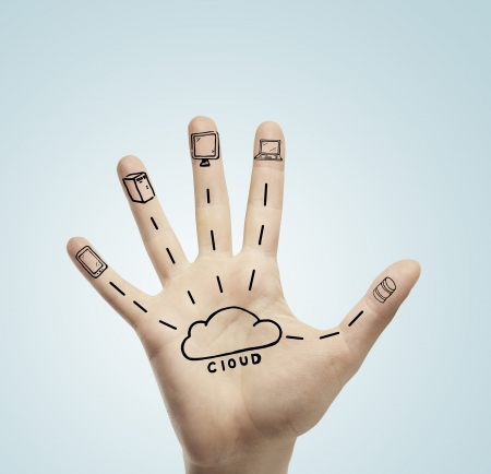 security icon: drawing cloud computing on hand Stock Photo