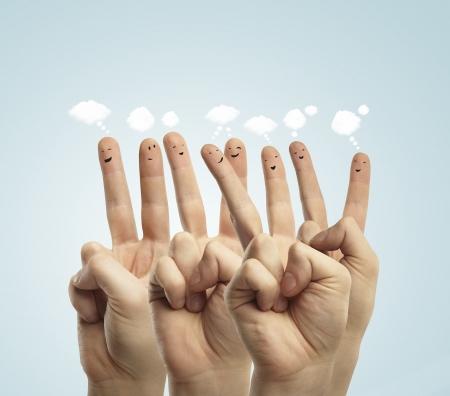 fingers smileys, social media concept Stock Photo - 15912960