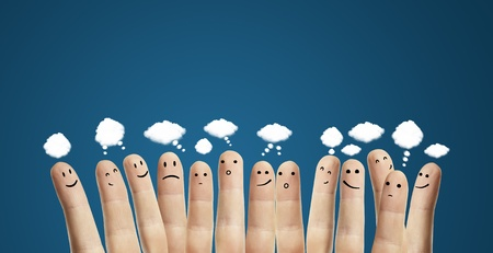 Happy group of finger smileys with speech bubbles