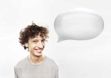 funny image: funny young man with white speech bubble