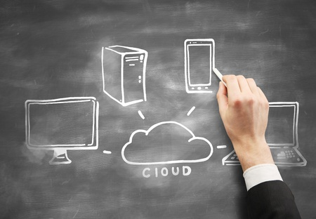 drawing cloud computing on desk Stock Photo - 15904787