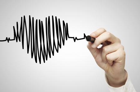 hand  drawing chart heartbeat and heart Stock Photo - 15904592