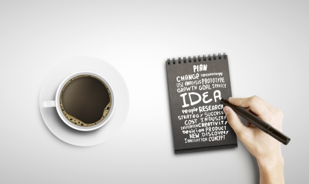 drawing business tags in black notepad photo