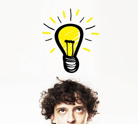 man with lamp, idea concept photo