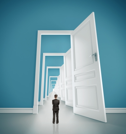 doorways: businessman in blue room with doors open