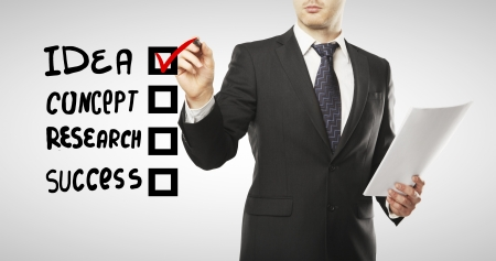 questionnaire: man drawing checkbox, business  concept