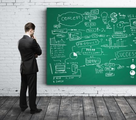 lluvia de ideas: hombre de negocios mirando a la estrategia de negocios a bordo Foto de archivo
