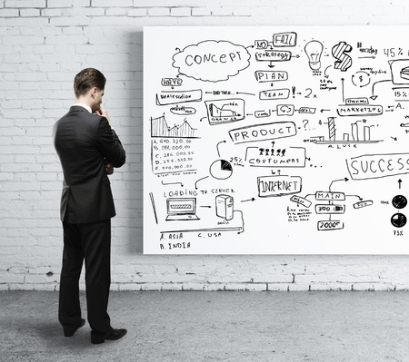 whiteboard: man looking at business strategy on board Stock Photo