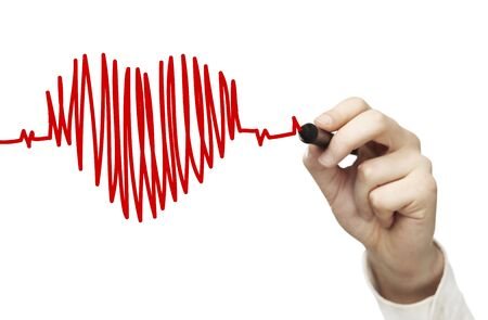 High resolution man drawing chart heartbeat Stock Photo - 16032602