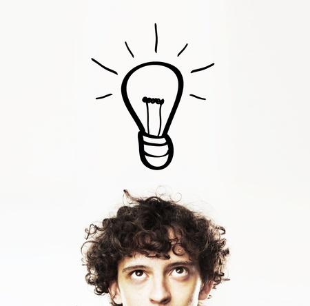 man with bulb, idea concept Standard-Bild