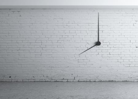 white brick wall: clock in white brick wall Stock Photo