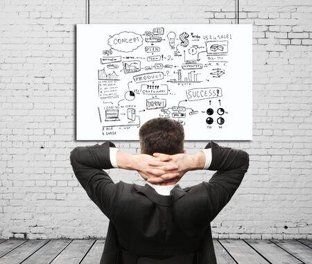 aspirations ideas: Hombre de negocios sentado en la pared y el esquema