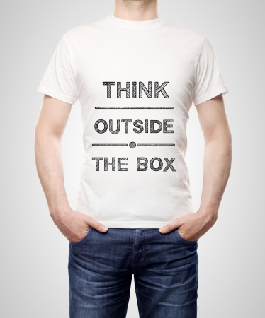 think outside the box on t-shirt photo