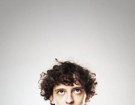 funny image: young man  on a white background Stock Photo