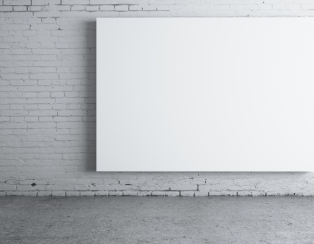 amaged: blank white  poster on wall