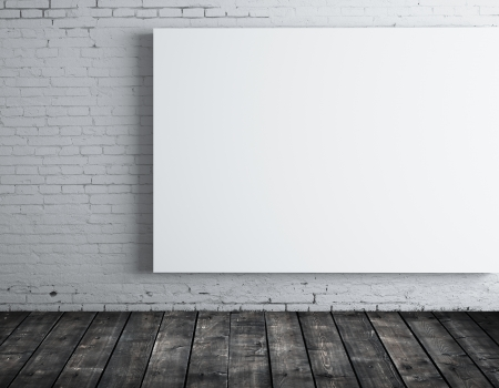 blank white  poster in room