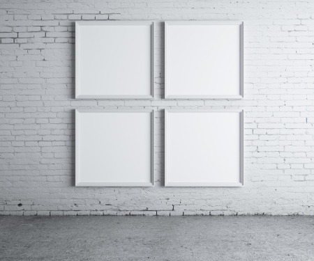 four blank frame on a concrete wall photo