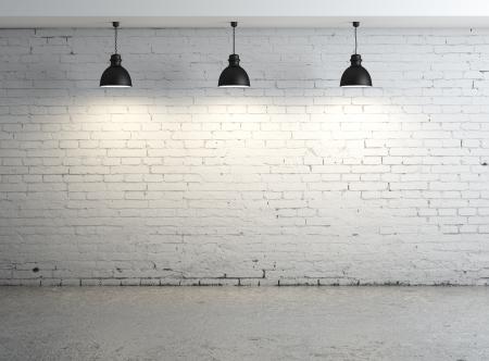 brique: Haute r�solution pi�ce en b�ton briques avec plafonnier