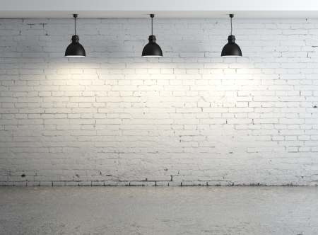 High resolution brick concrete room with ceiling lamp photo