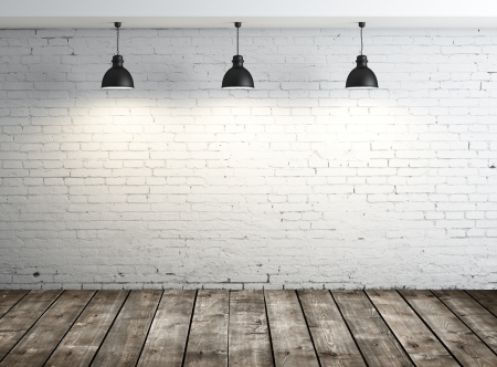 floor lamp: white brick room with ceiling lamp Stock Photo