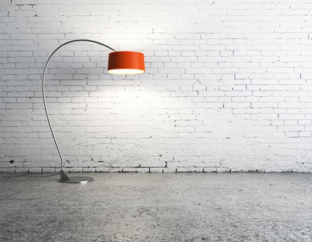 concrete blocks: floor lamp in white brick room