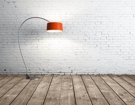 floor lamp: floor lamp in brick room