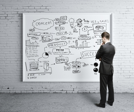 ötletroham: ember nézi az üzleti stratégia a fedélzeten