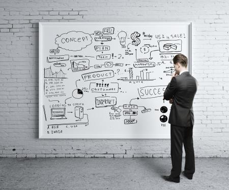 lluvia de ideas: hombre mirando a la estrategia de negocios a bordo