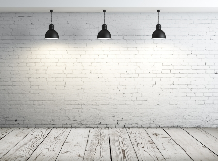 old brick wall: poster in room with ceiling lamp Stock Photo