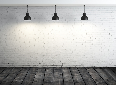 concrete commercial block: poster in room with ceiling lamp Stock Photo