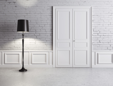 floor lamp: white door and lamp, luxury interior Stock Photo