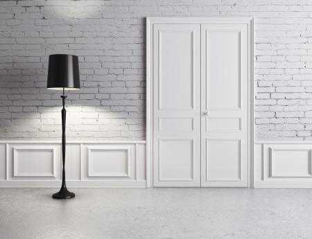 floor lamp: white door and lamp, luxury interior Stock Photo
