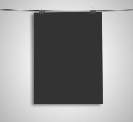 black poster on a rope Stock Photo - 16189024