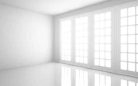 white room: empty  light white room with window