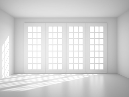 living room window: light white room with big window Stock Photo
