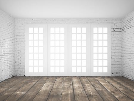 empty space: empty  light white interior with window