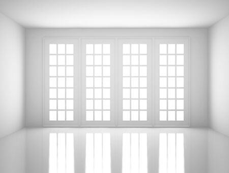 rendered: white room with big window Stock Photo