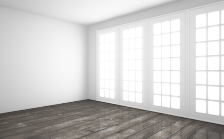 white interior with wooden floor photo