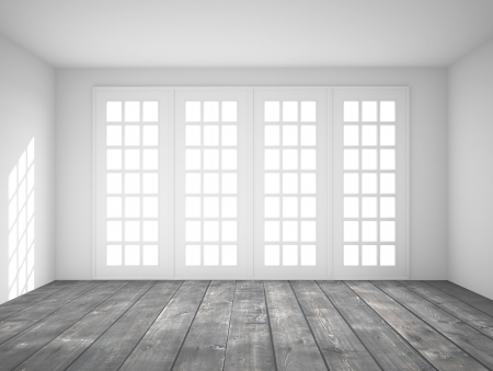 big window: white interior with big window