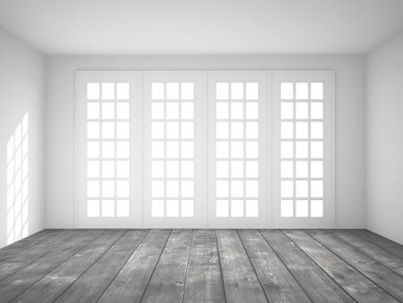 big window: wit interieur met groot raam