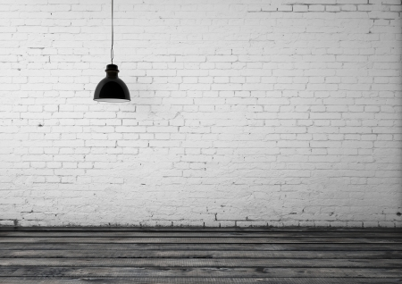 floor lamp: room with ceiling lamp and brick wall