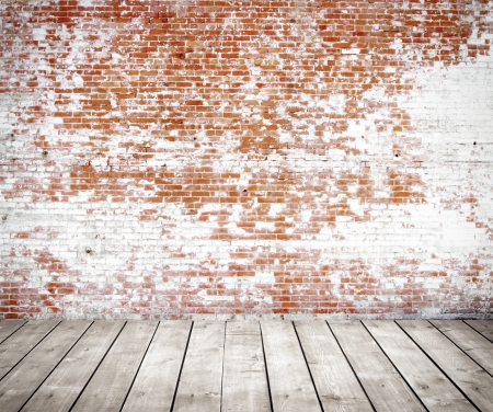 red wall: red brick wall and wood floor Stock Photo