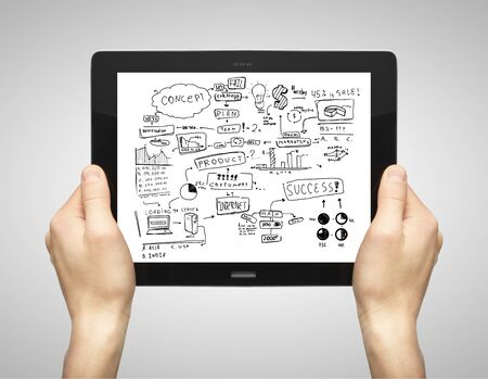 hands holding tablet  with business concept Stock Photo - 16292573
